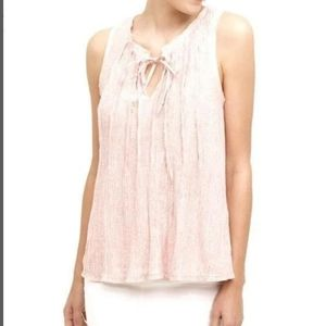 Meadow Rue Pink Pleated Neck Tie Tank Top